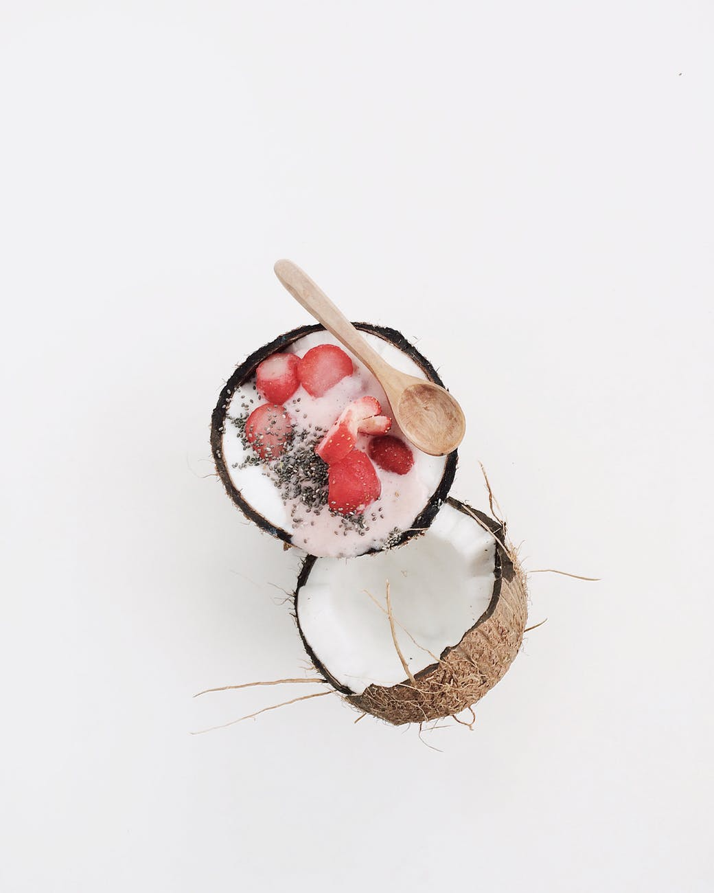 coconut filled with slice of fruits